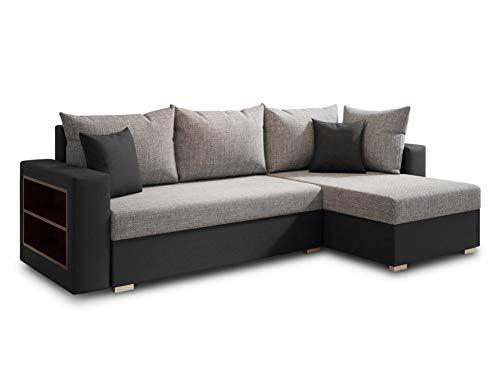 Ecksofa Lord mit Regal und Schlaffunktion - Sofa mit Bettkasten, Schlafsofa, Polsterecke, Couch L-Form, Couchgarnitur, Sofagarnitur (Schwarz + Grau (Dolaro 08 + Berlin 01), Ecksofa Rechts)