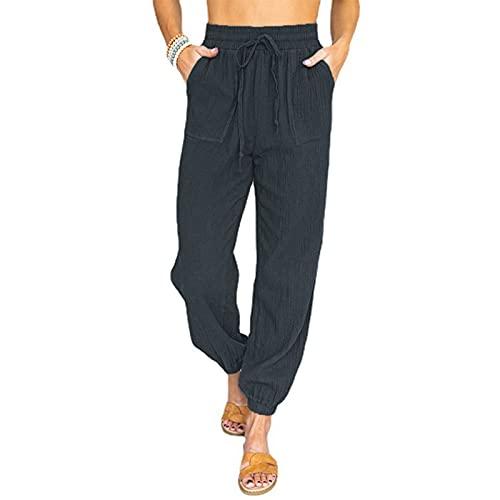 WXMSJN Pantalones Casuales De Color Puro Pantalones Largos con Cordones De Cintura Alta para Mujer