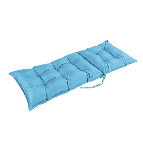XHNXHN Cuscini per sedie, 120 * 50 * 8 cm Cuscini per sedili con Schienale Alto Impermeabili da Esterno Chaise Lounge Giardino Patio Lettino Prendisole Reclinabile Cuscino con Lacci (Azzurro Cielo)