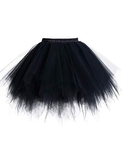 Timormode Tutu 50 - Falda de tul, corta, vestido de danza, estilo rockabilly, color negro, XL