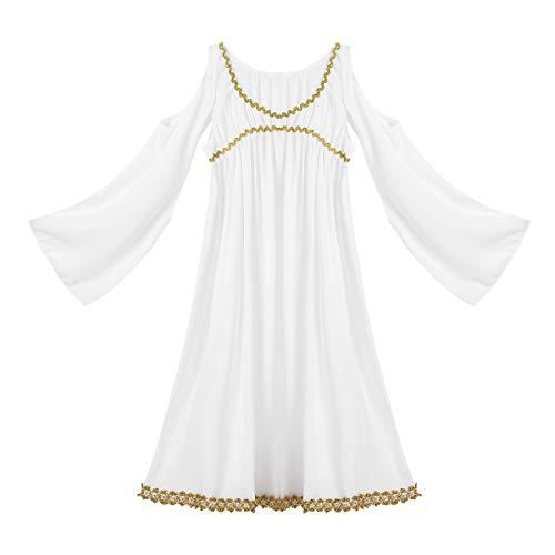 inlzdz Niñas Vestido Elegante de Princesa Vestido Largo para Fiesta Halloween Disfraz de Diosa Griega 2-14 Años Blanco 6-7 años