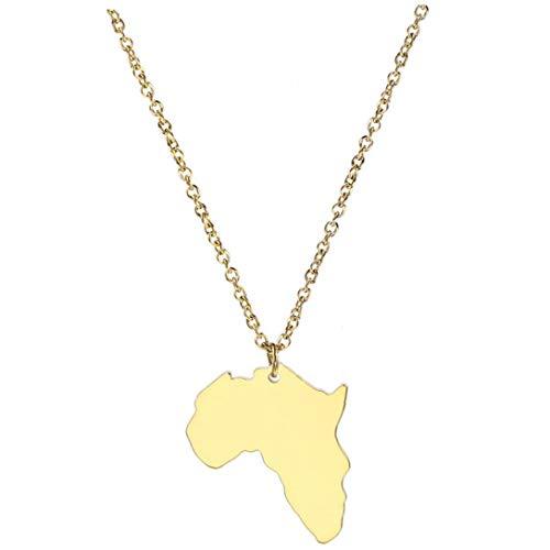 Byfri Afrika-Karte Halskette Afrikanische Karte Anhänger Gold Farbe Schmuck Edelstahl-Halskette