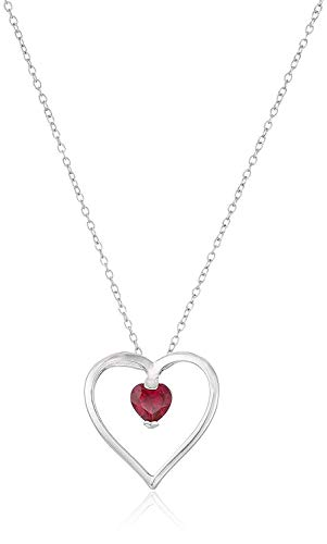 .925 Sterling Silver Created Ruby Gemstone Open Heart 1' Pendant Necklace on 18' Chain - July Birthstone