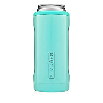 BrüMate Hopsulator Slim Double-walled Stainless Steel Insulated Can Cooler for 12 Oz Slim Cans  Aqua