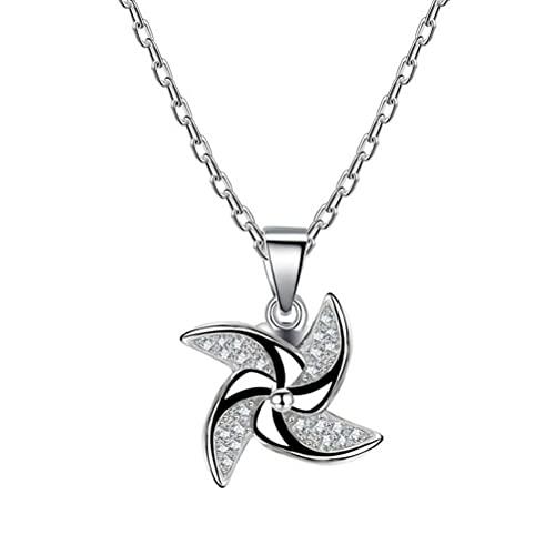 GYUFU Collar de Regalo para Mujer S925 Collar Giratorio Stylemill de Plata Esterlina, Cadena de Clavícula Colgante Femenina,oro, Plata 925