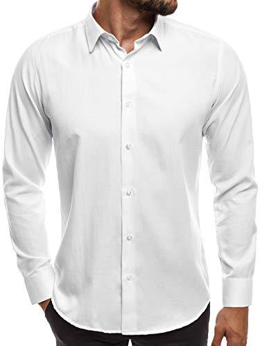 OZONEE Herren Hemd Freizeithemd Shirt Langarm Tailored Fit Flanellhemd Langarmhemd Langärmliges Slim Fit Freizeit Business Männer Jungen Trachtenhemd MECH/2122 WEIß XL
