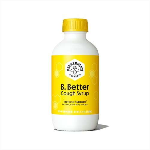 BEEKEEPER'S NATURALS B.Better Daytime Cough Syrup for Adults - Elderberry Extract, Chaga Mushroom, Bee Propolis Extract & Buckwheat Honey- Immune Defense, Immune Support Supplement, Antioxidants, 4 oz