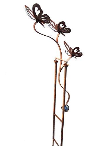 Crispe home & garden Windspiel 3 Schmetterlinge in Edelrost mit Glaskugel - Höhe 106 cm - allwetterfest