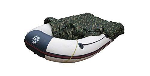 Stylische Bootspersenning 200D für Schlauchboote | Größe 320 bis 370cm x 170cm | wasserdichte camo Bootsplane mit Seil und Aufbewahrungstasche | Schutz vor Umwelteinflüssen dank PVC-Beschichtung