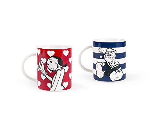 Excelsa Popeye & Olivia - Juego de 2 tazas de porcelana, azul y rojo