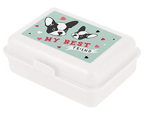 Baagl Brotdose Kinder mit Fächern - Lunchbox mit Trennwand für Schule und Kindergarten - Jausenbox mit Unterteilung für Mädchen (Doggie)