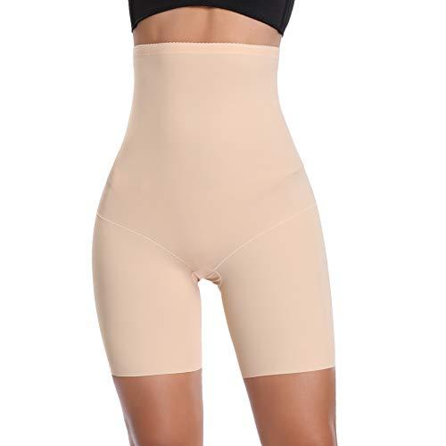 Joyshaper Figurformende Miederhose Nahtlose Miederpants Atmungsaktive Shapewear mit Bein Hohe Taille Perfekt als Unterwäsche (Beige, S/DE 34~36)