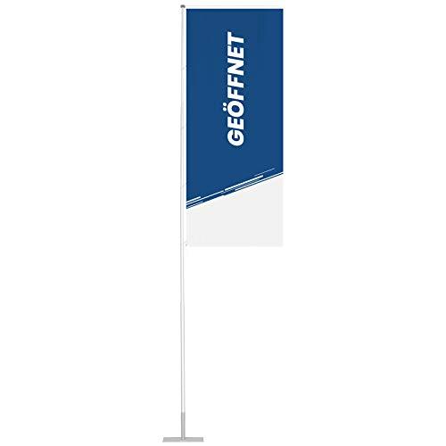 Vispronet Flagge 120x300 cm Geöffnet ✓ für mobilen Fahnenmast T-Pole 100 & 200 ✓ Mastseite (Links) mit Ösen