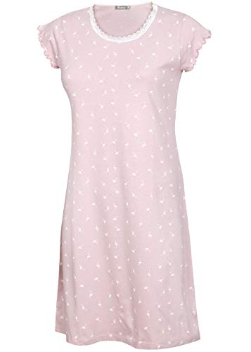 kbsocken Nachtkleid Nachthemd Schlafkleid Sleepshirt Nachtgewand Damen (Rosa, L)