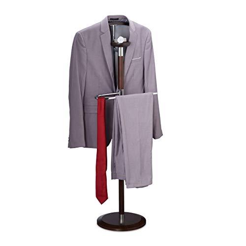 Relaxdays Herrendiener mit Ablage, Anzug Bügel, Hosenstange, Holz-Chrom-Mix, HBT: 121 x 46 x 30 cm, Kleiderbutler, braun, 1 Stück
