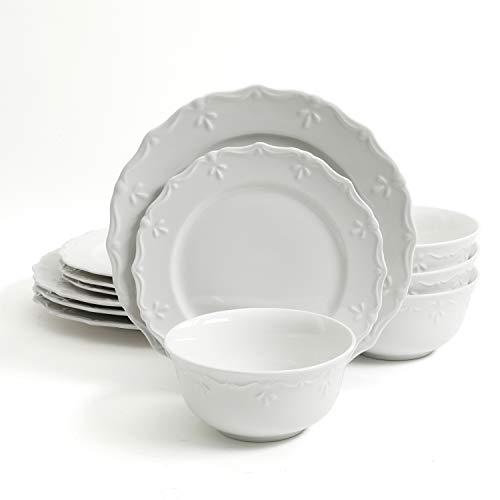 Gibson Home Scallop Buffet 12 Piece Dinnerware Set, White