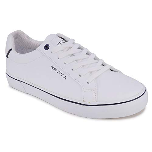 Nautica Men's Leonard Casual Lace-Up Shoe,Classic Low Top Loafer, Fashion Sneaker-White-10