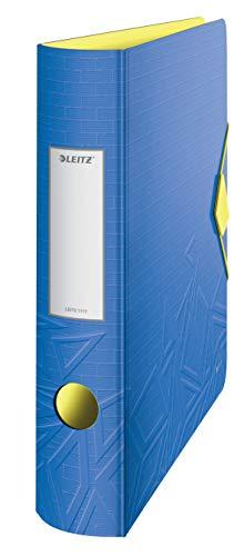 Leitz - Archivador de Palanca A4 de 180° Active Urban Chic, Azul, Lomo Redondeado de 65 mm, Cierre con Goma Elástica, Polyfoam Ligero, Urban Chic, 11170032