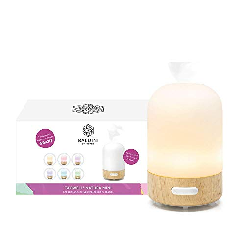 TaoWell Humidificador I Aroma Difusor con ultrasonidos I con Wellness luz en 6 colores I Lámpara de aroma para aceites esenciales, color negro