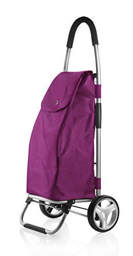 Selltex Einkaufstrolley Einkaufstasche Trolley in schwarz mit 45 Liter Inhalt (Lila)