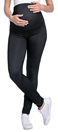 Happy Mama. Damen Denim-Look Leggings Umstandsmoden elastische Taillenbund. 948p (Schwarz & Jeans, 38-40, XL)