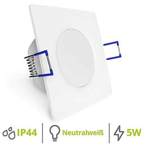 linovum WEEVO Deckeneinbaustrahler LED flach 29mm IP44 für Bad & Außen - 230V Spot LED weiß quadratisch 500 Lumen 5W 4000K