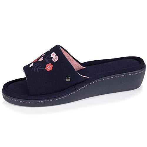 Isotoner - Zapatillas de tacón para mujer, Azul (azul marino), 37 EU
