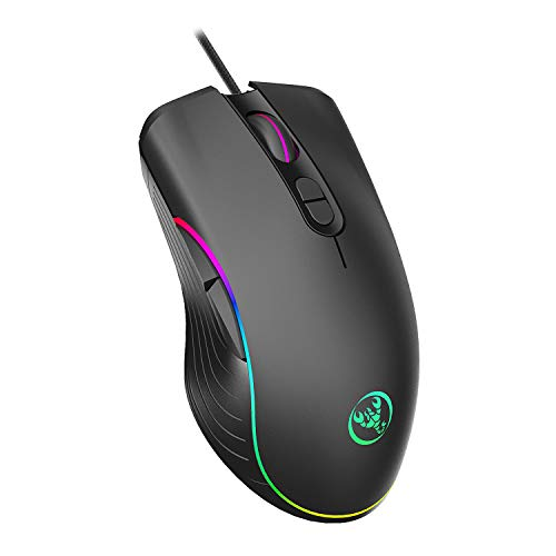 TKOOFN Mouse Gaming RGB, 4 DPI (1000/1600/3200/6400) Mouse Ottico a LED Cablato con 7 Pulsanti Disegno Ergonomico, Ideale per Giochi per PC Portatili Laptop Notebook & Uso Quotidiano