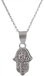 Sterling Silver Iced Out Hamsa Pendant with Centered Star 18 Inch Necklace (I-224)