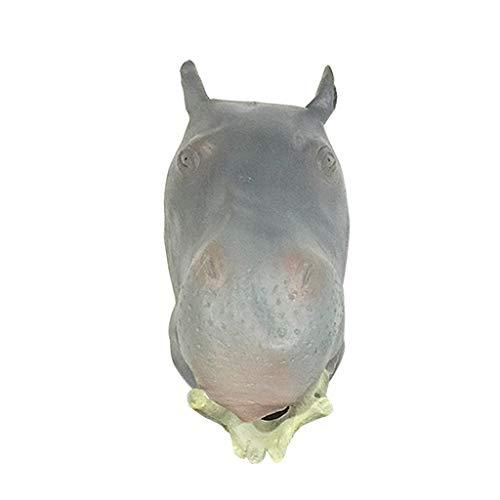 JGBHPNYX Nilpferd Maske Tier Latex Kopfschmuck Halloween Lustige Kopfbedeckung