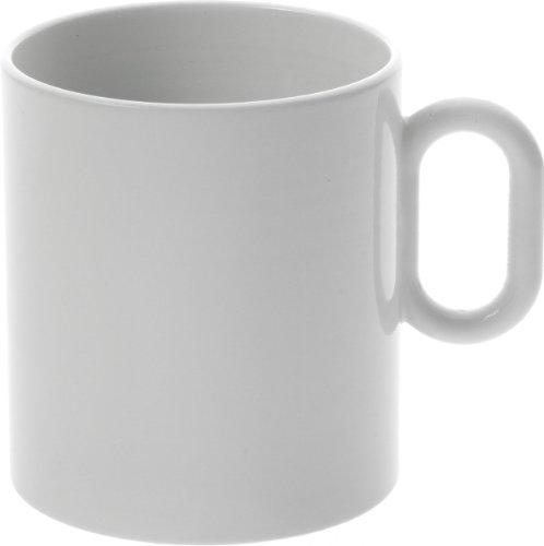 Alessi Mw01/89 Dressed Mug en Porcelaine Blanche avec Décoration en Relief, Set de 4 Pièces