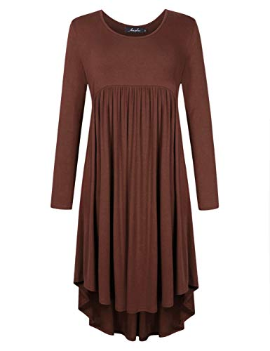 AMZ PLUS Plus Size Scoop Neck Short Sleeve Pleated Tunic Casual Dress for Women Coffee 3XL