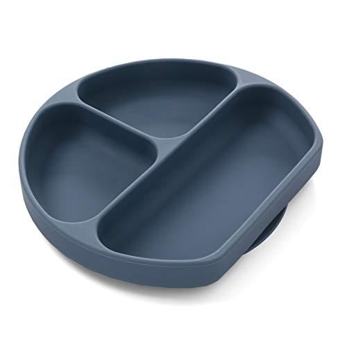 Piatti per neonati divisi in silicone - Piatto pranzo per neonati con forte ventosa - Piatti per alimenti anti-caduta - Piatto per alimenti per neonati - Piatto per microonde per bambini (blu)