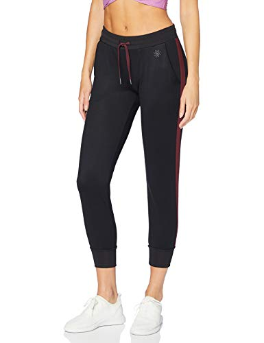 Marca Amazon - AURIQUE Mallas de Deporte Cortas con Banda Lateral Mujer, Negro (Black/Port Royale), 36, Label:XS