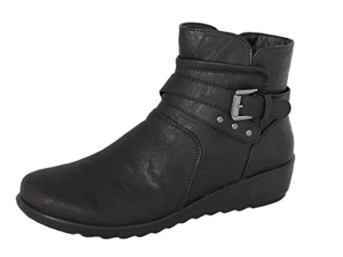 Cushion Walk Women's Black Low Wedge Ankle Boots with Zip Fastening & Buckle and Stud Detail - Non-Slip Sole - Sizes 4-8 (Black, 3)