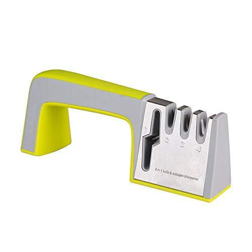 Afilador de cuchillo Fast hogar de cuatro segmentos de ángulo fijo Molienda Tijeras dios de la cocina gadget multifuncional Afilado Afilador profesional ( Color : Yellow , Size : 23.5x9.5x6.5CM )