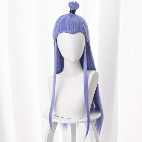 HNWNJ NE ZHA(Ao Bing) Anime Cosplay Rose Net Pelucas de fibra resistente a altas temperaturas pelo largo recto mezclado azul y morado