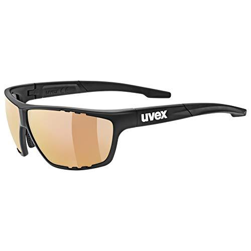 uvex Unisex– Erwachsene, sportstyle 706 cv vm Sportbrille, kontrastverstärkend, selbsttönend, black mat/red, one size