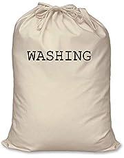 Sac de lavage 100% coton naturel Rangement de Maison organisation Lavage Panier à linge, Grand modèle : 60cm x 76cm