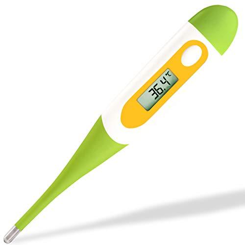Termómetro oral rectal o axilar digital de Easy@Home para la medición de la temperatura corporal para bebés niños & adultos (verde)