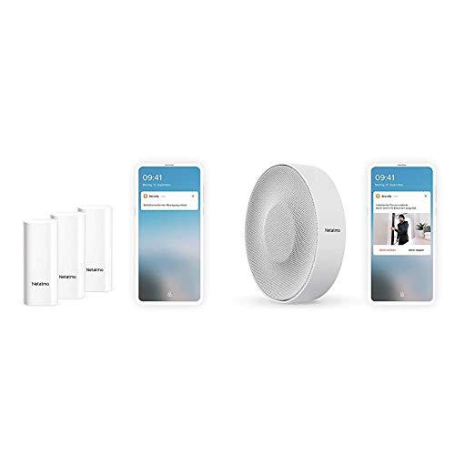 Netatmo Smarte Tür- und Fenstersensoren Schwingungserkennungen + Smarte Innen-Alarmsirene, 110 dB