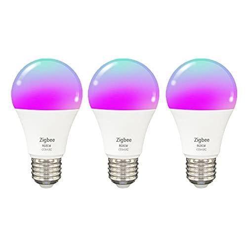 Bombillas LED ZigBee de 10 W, bombillas inteligentes, compatibles con Alexa, Google Home e IFTTT, regulables y con cambio de color...