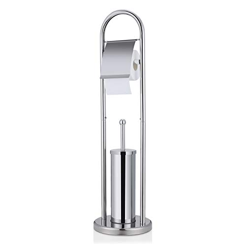 WOOHSE Luxury Design Set da Bagno Porta Carta Igienica e Porta Scopino WC Acciaio Inossidabile –...