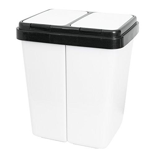 Grizzly Doppelmülleimer 2 x 25l Recycling - Abfallbehälter Mit 2-Fach Deckel - Lichtgrau