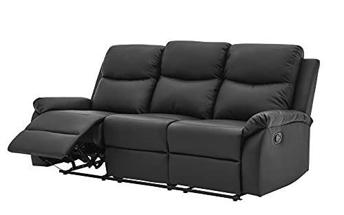 TTONG Global Furniture USA Reclining Black PU Sofas, Standard, White