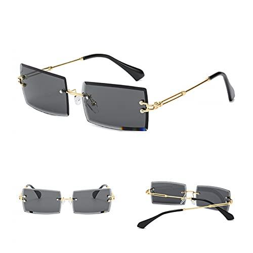 SXRAI Gafas de Sol de Moda para Mujer, sin Montura, gradiente, Gafas de Sol, Lentes para Mujer, sin Marco,C1