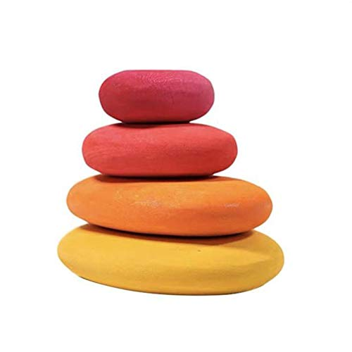 BESTINE Bloques Equilibrio Madera, Coloridos Bloques Equilibrio Piedra Madera en Forma de Guijarro Natural Ligero Juego de Apilamiento Bloques de Roca Juguete Educativo (Red,4PCS)