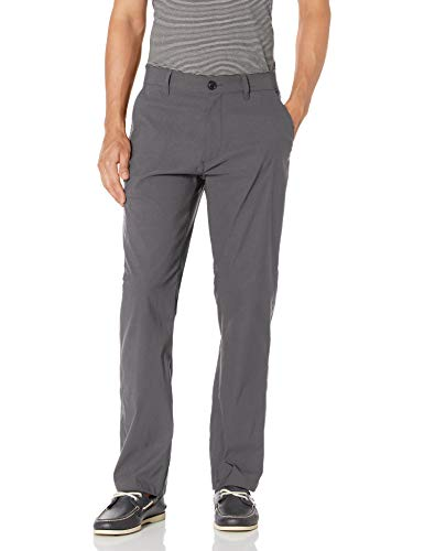 UNIONBAY Men's Rainier Lightweight Comfort Travel Tech Chino Pants, Charcoal, 36x32