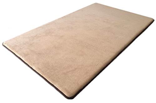 48''x30'' MicroPlush Fleece Beige Comfort Luxurious Memory Foam Waterproof Anti Slip Mat Pad Rug for Home, Kitchen, Bathroom, Bedroom, Pets, Activities.