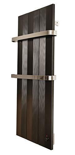 Finesa Badheizkörper-Handtuchwärmer-Elektrischer,Wärmeabgabe 400-750 W,Termostat,Handtuchtrockner,Handtuchhalter (1000x558, Schwarz)***** 5 Jahre GARANTIE *****